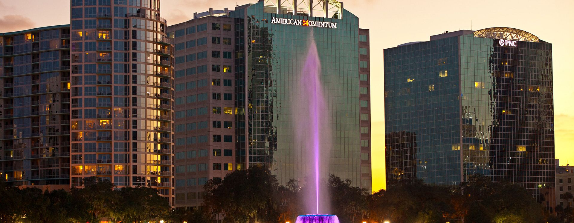 Fountain at Lake Eola in downtown Orlando at dusk
