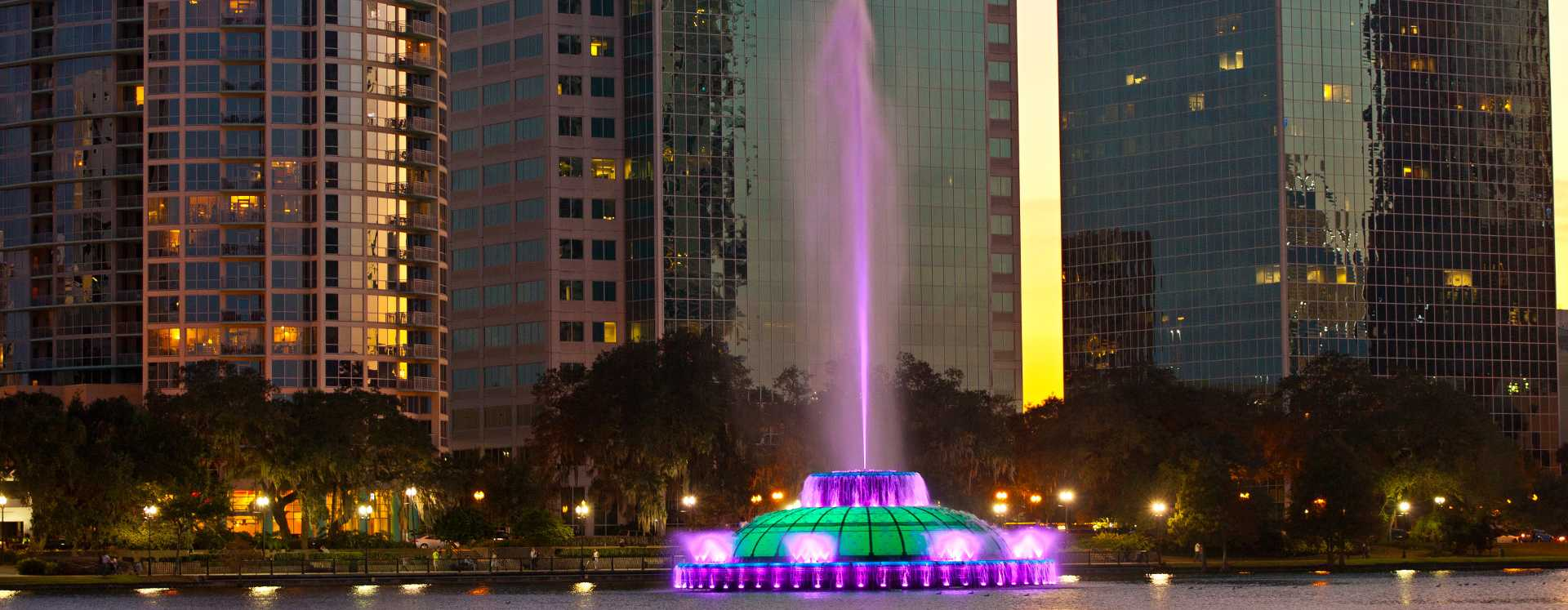 Fountain at Lake Eola in downtown Orlando at dusk