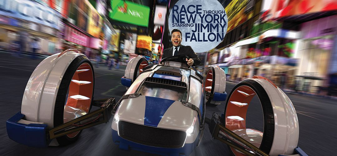 Jimmy Fallon racing through Time Square.