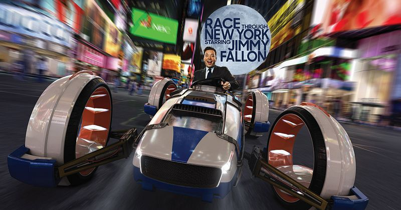 Jimmy Fallon racing through Time Square
