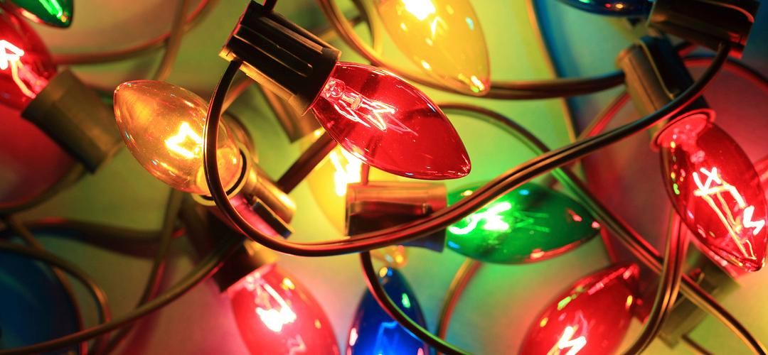 Close-up of multi-colored Christmas lights