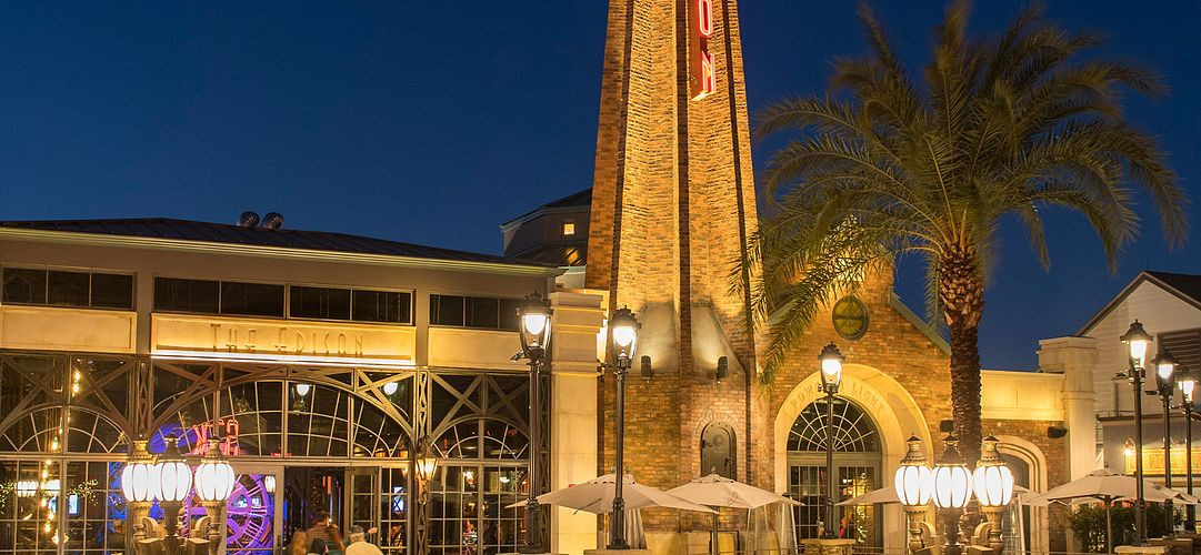 Exterior of The Edison at Disney Springs in Orlando, Florida.