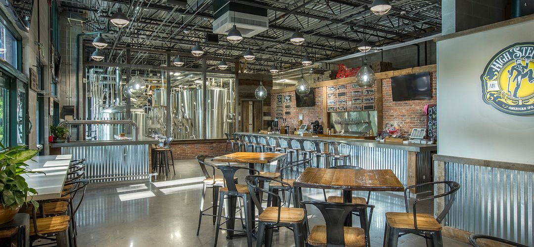 Crooked Can Brewery seating area