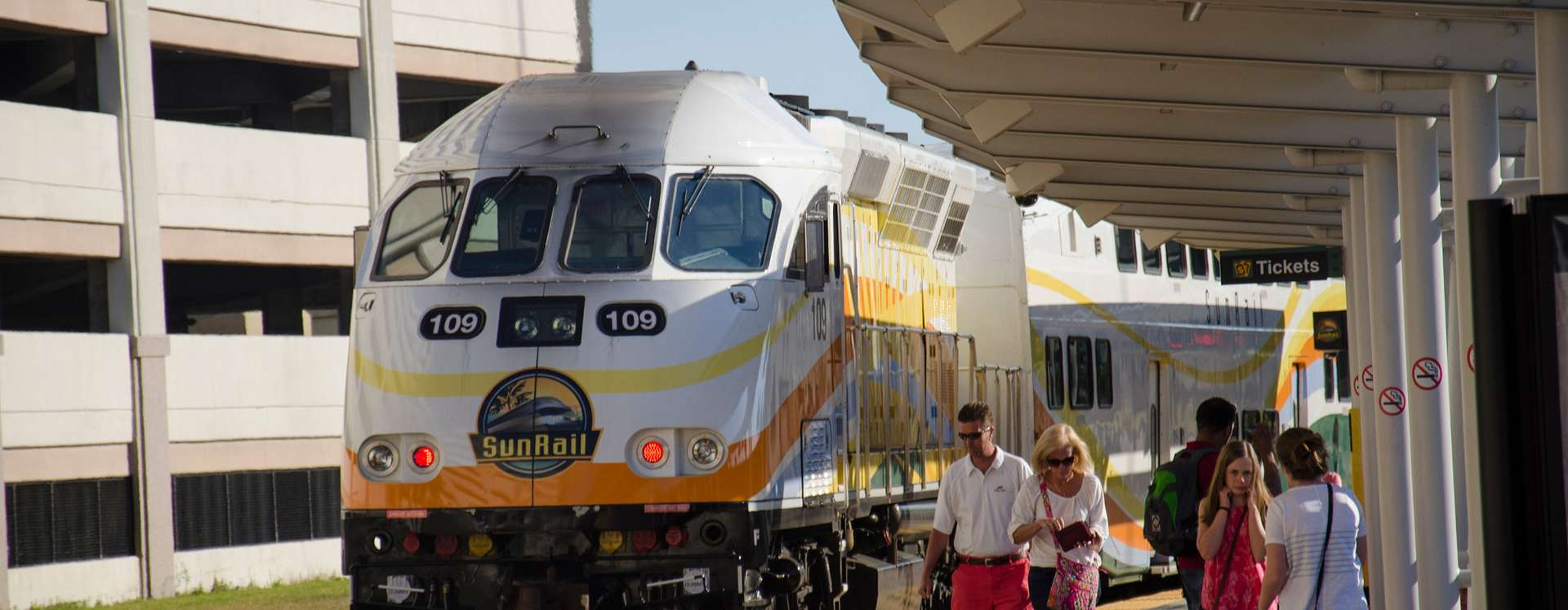 Sunrail train arriving at the Church Street Station in Downtown Orlando