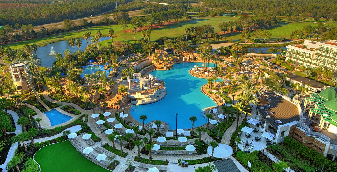 Enjoy Waterslides and Other Fun Features at Orlando World Center Marriott's Falls Pool Oasis
