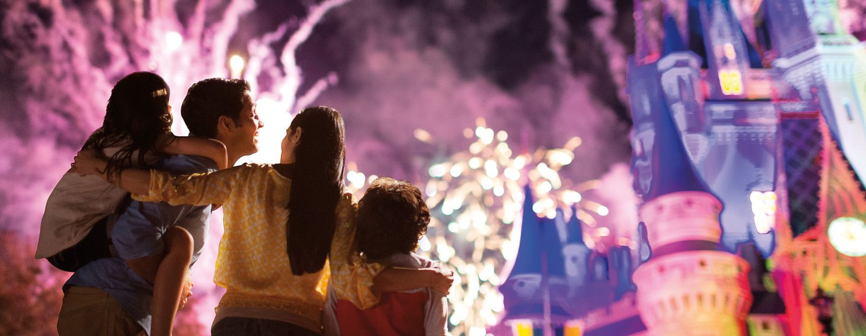 Spectacular fireworks over Cinderella's Castle at Disney's Magic Kingdom.