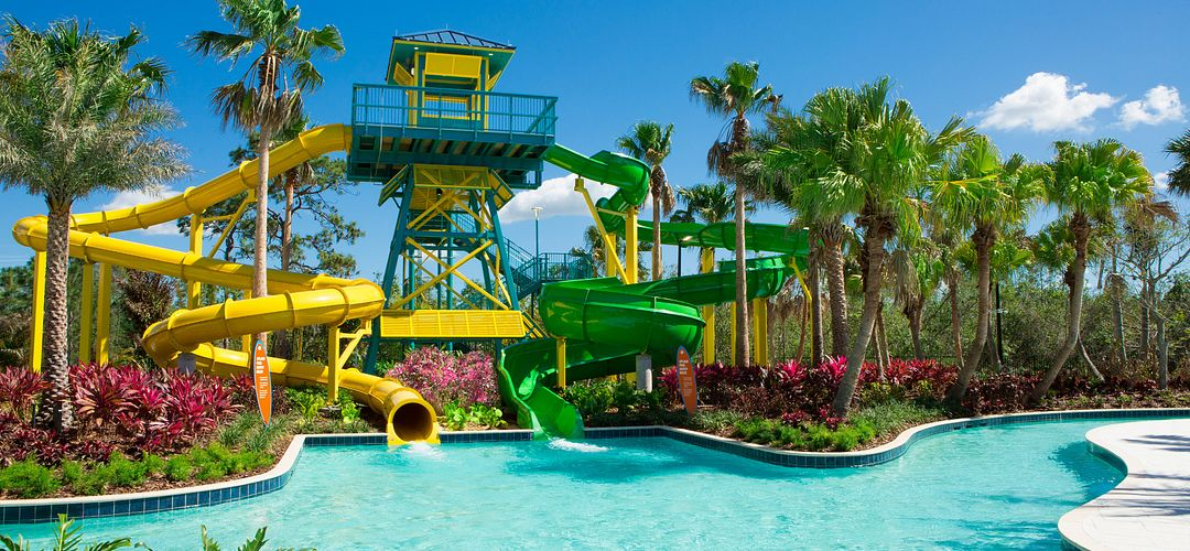 The Grove Resort & Spa water slide going into pool
