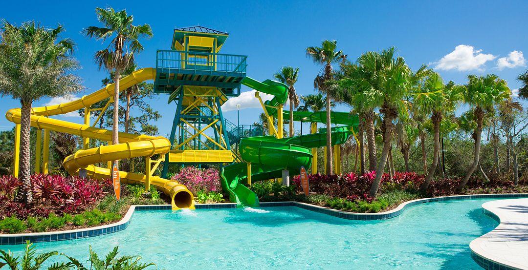 Waterslides at The Grove Resort & Spa's Onsite Surfari Water Park in Orlando