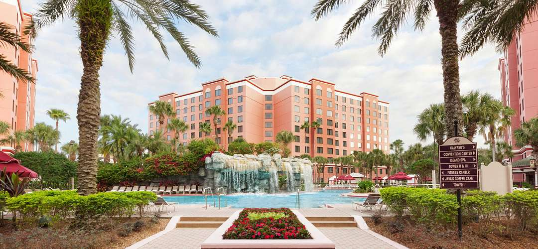 Caribe Royale All-Suite Hotel & Convention Center exterior shot of pool and waterfall.