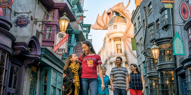 Family of five walking through diagon alley with the dragon in the background