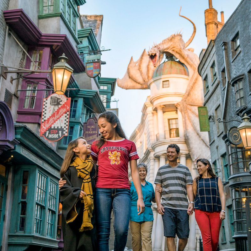 Family walking down Diagon Alley with the dragon in the background