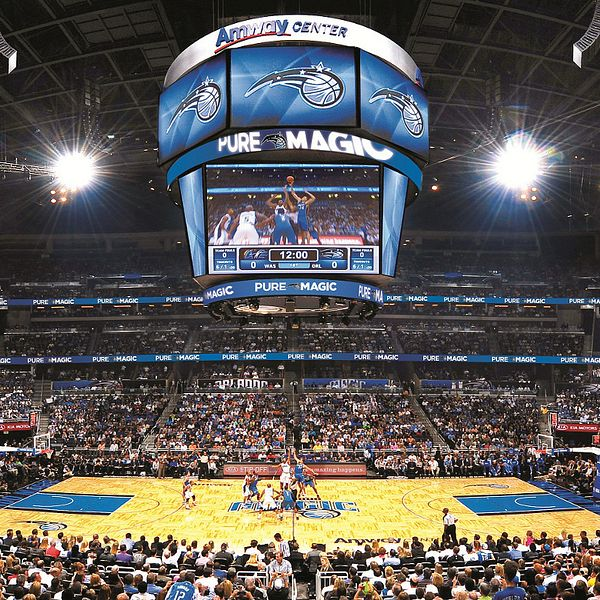 Inside the Amway Center for an Orlando Magic basketball game