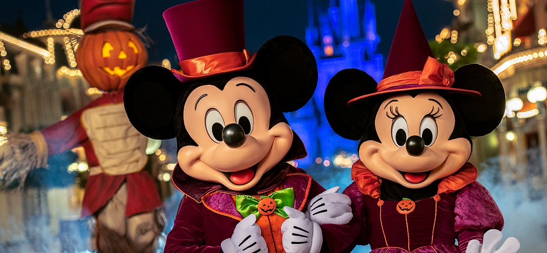 Mickey and Minnie Mouse dressed up for Mickey's Not-So-Scary Halloween Party at Magic Kingdom.