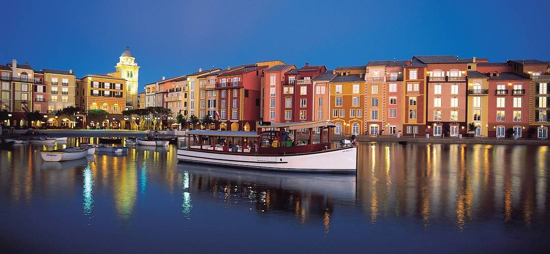 Loews Portofino Bay Hotel harbor at dusk