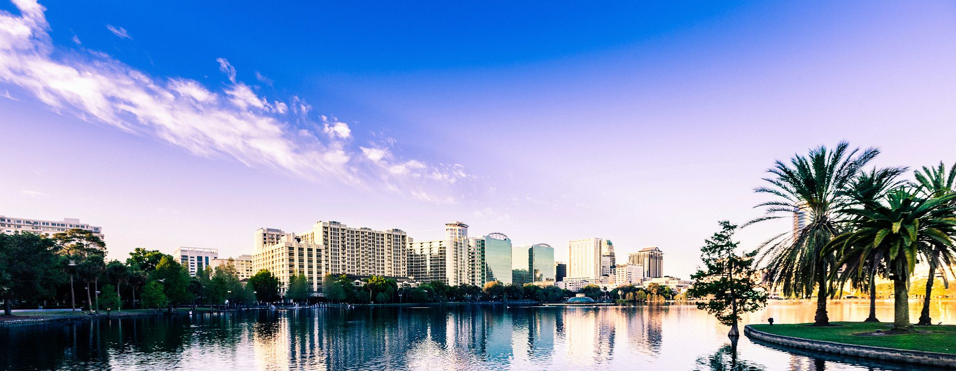looking over lake Eola and the downtown orlando skyline