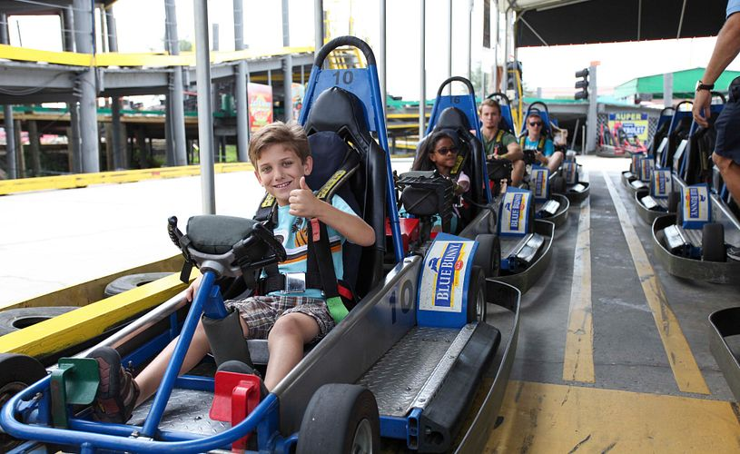 Kids riding go karts in Fun Spot America Orlando