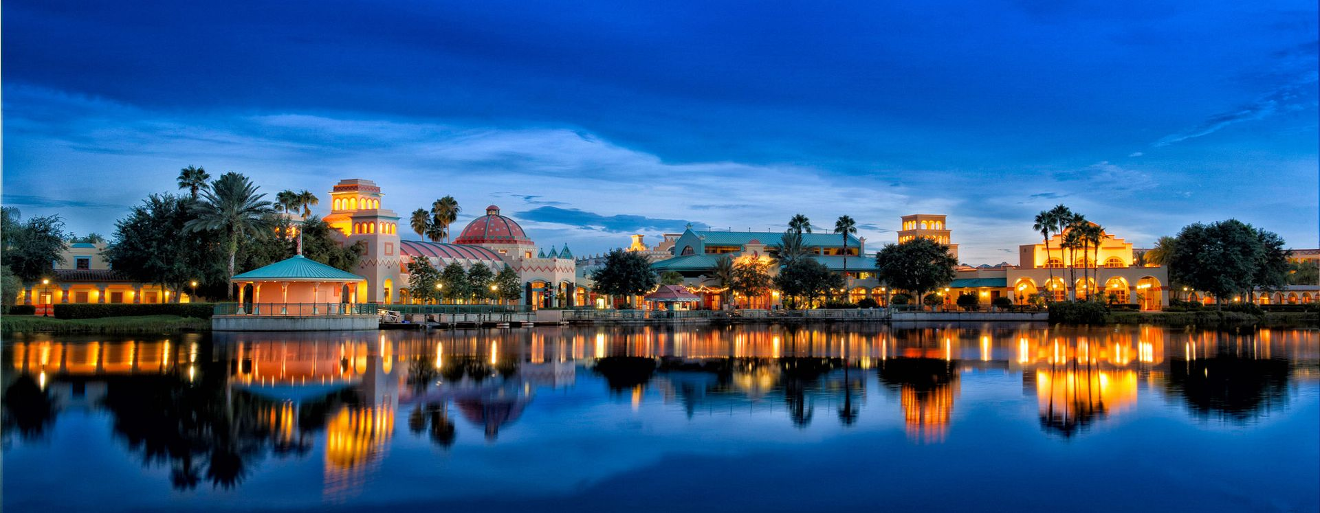 Disney's Coronado Springs Resort exterior at night