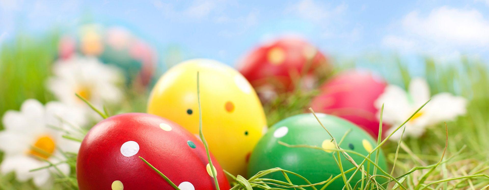 huevos de pascua asentados en la grama de una pradera