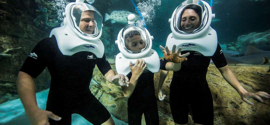 A family with dive helmets exploring underwater with fish swimming in the foreground at Discovery Cove.