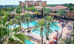 View of the pool and palm trees at Floridays Resort