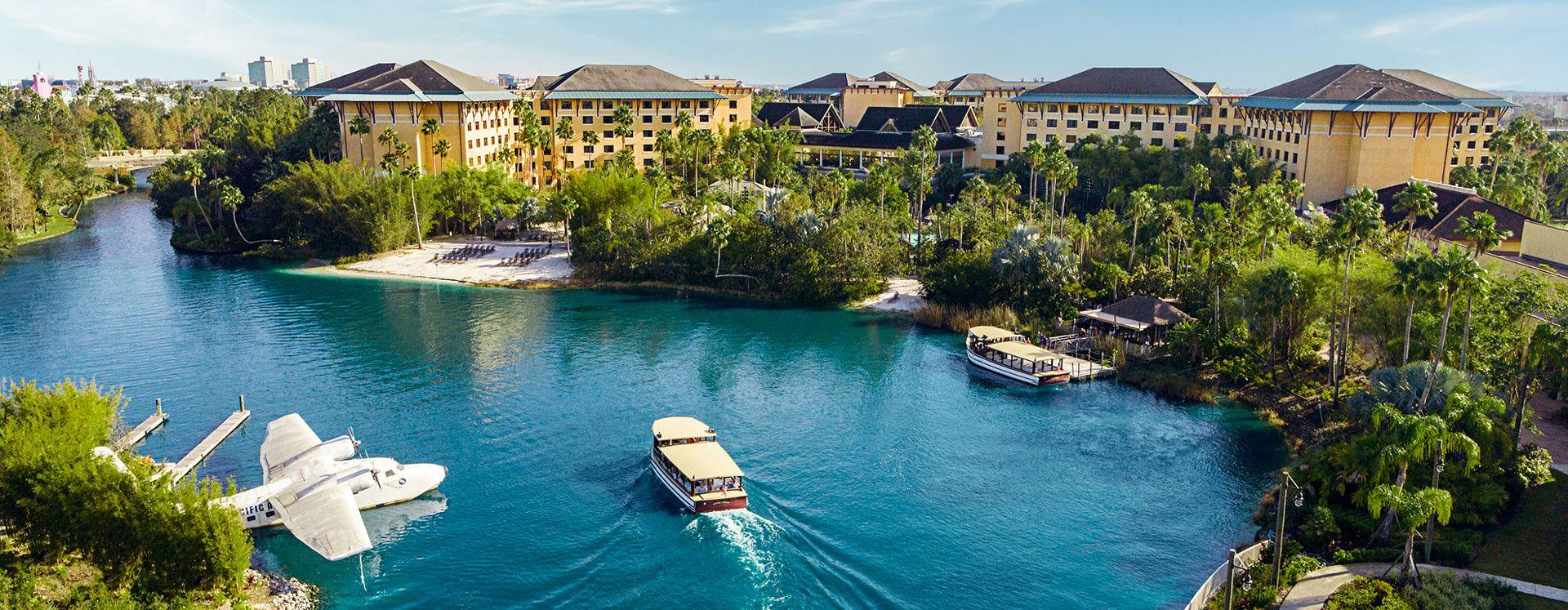 Water taxi transporting guests to Loews Royal Pacific Resort at Universal Orlando™.