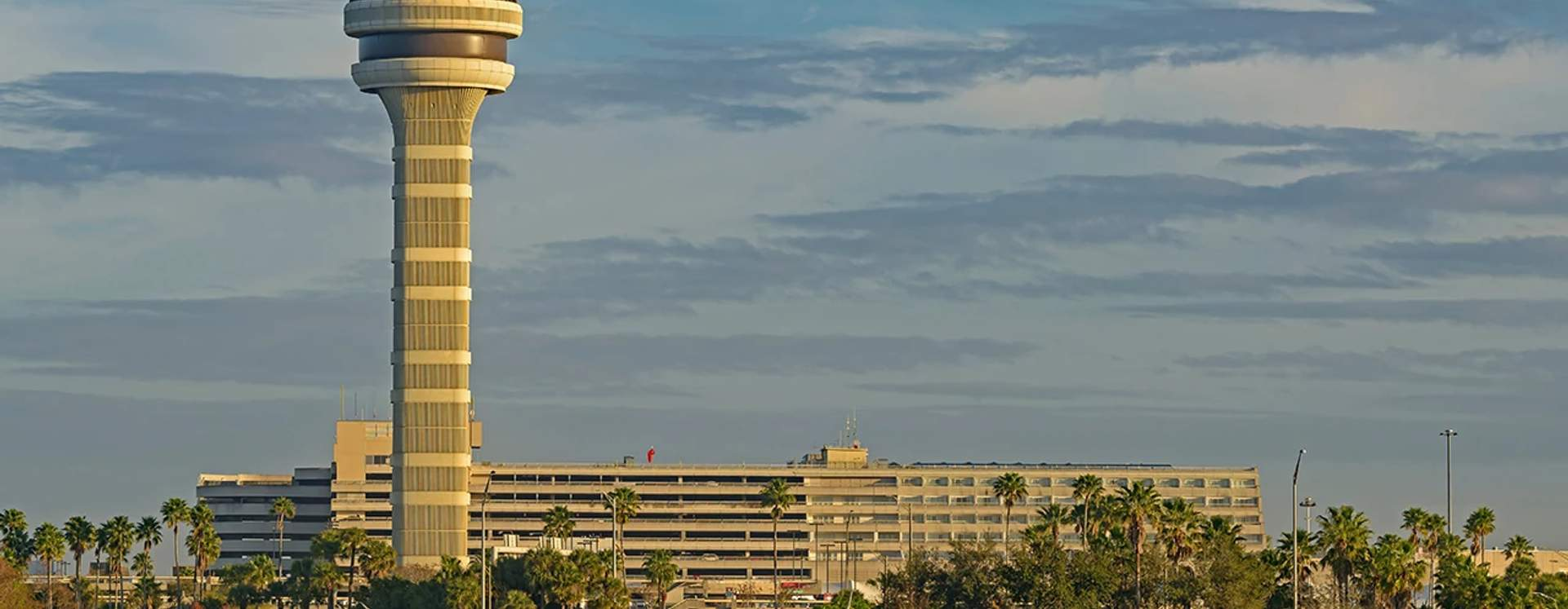 The skyline of the Orlando International Airport