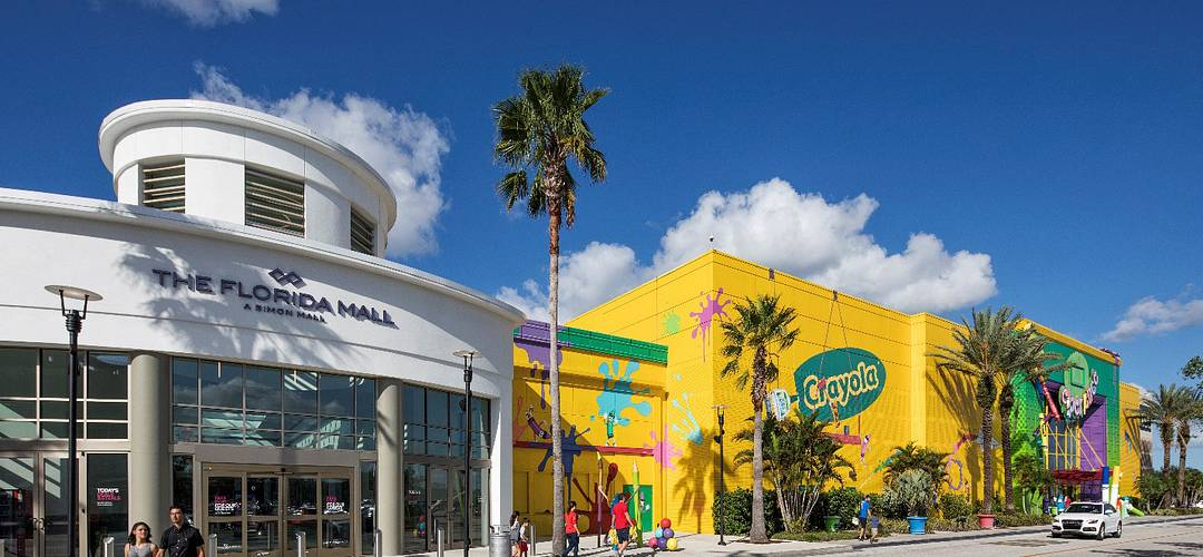The exterior of The Florida Mall and the Crayola Experience in Orlando