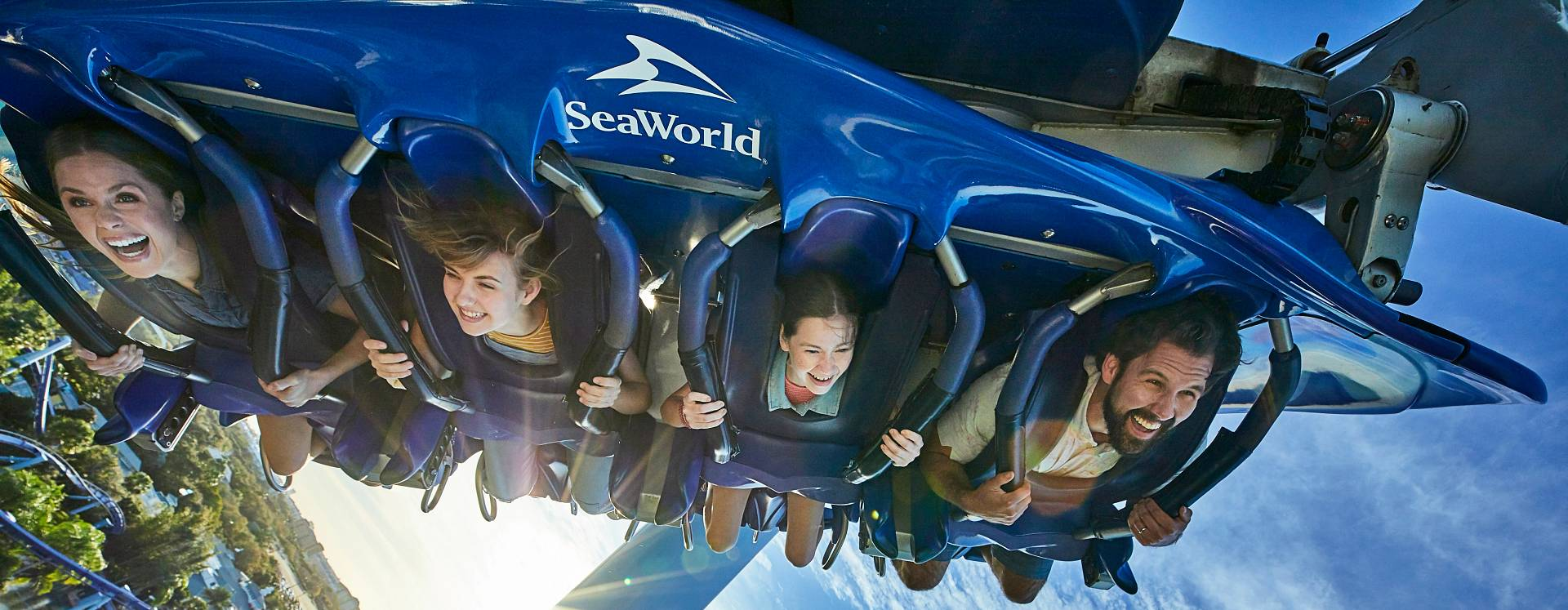 People screaming and having fun while riding on the Manta roller coaster, in SeaWorld Orlando