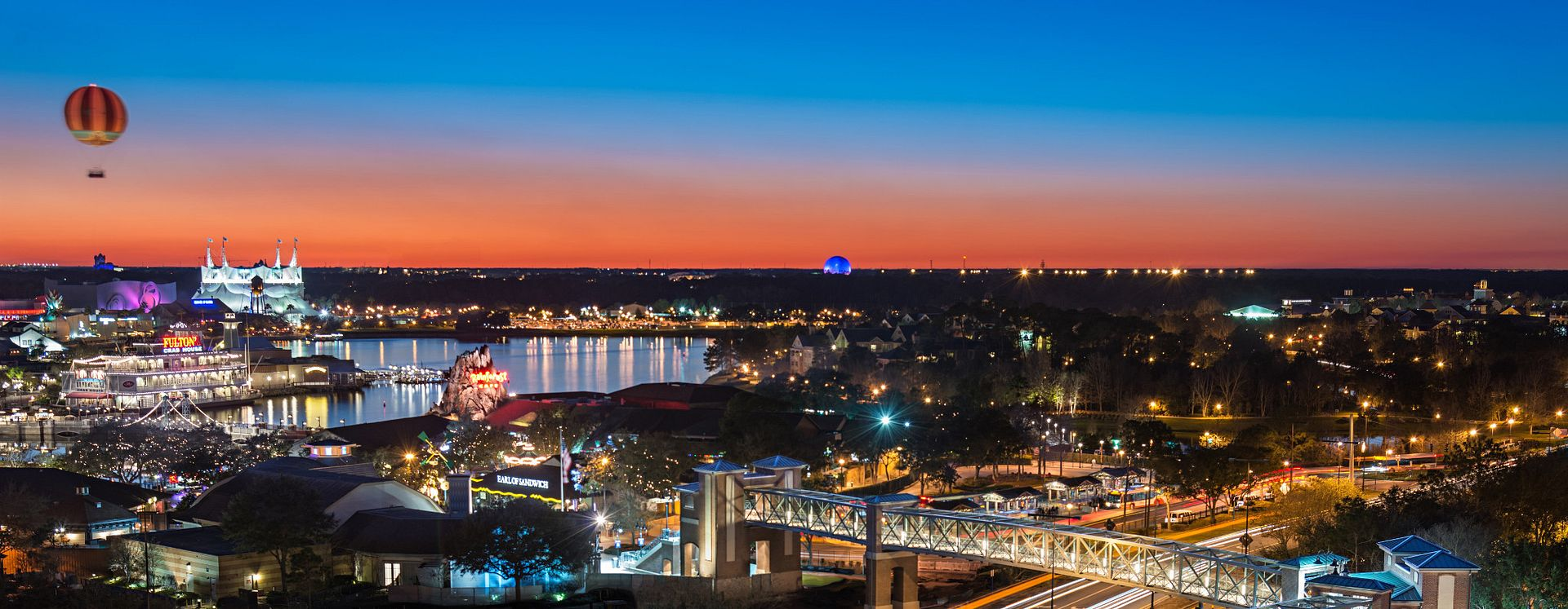 View of Disney Springs at sunset