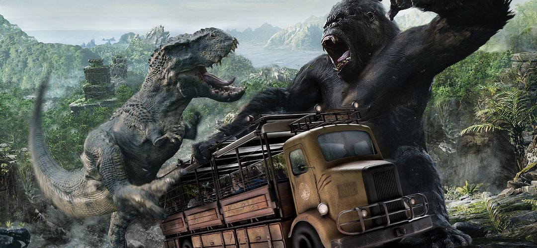 Un autobús lleno de pasajeros en medio de una pelea entre King Kong y un Tyrannosaurus rex