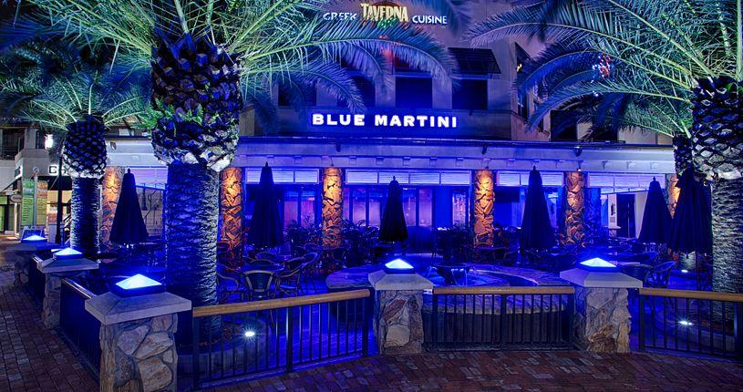 Blue Martini patio at night
