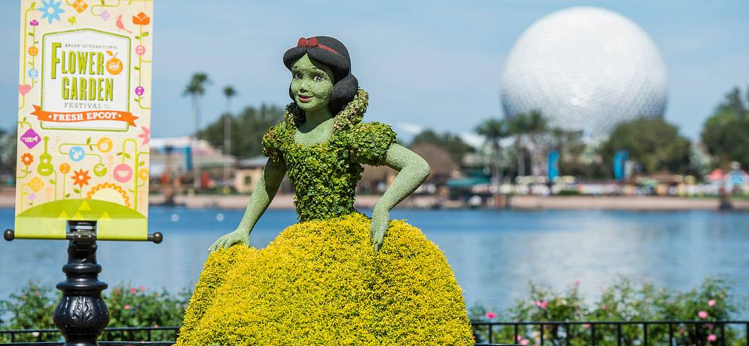 The popular Snow White topiary at the Germany Pavilion at the Epcot International Flower & Garden Festival.
