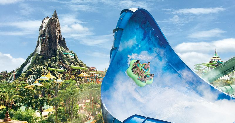Honu Ika Moana waterslide with the volcano in the background