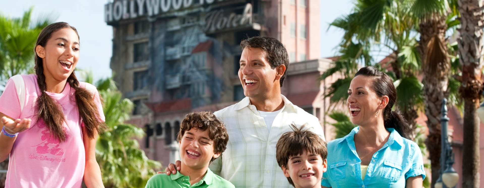 Family in front of the The Twilight Zone Tower of Terror at Disney's Hollywood Studios