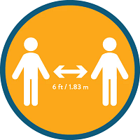 Icon of two people with 6 feet marked between them