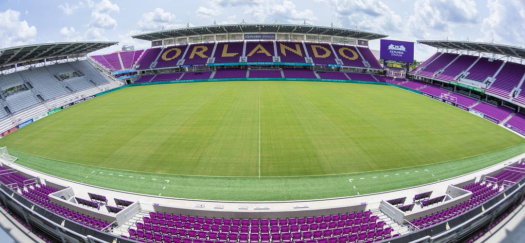A view of the field at Orlando City Soccer Club Exploria Stadium in downtown Orlando
