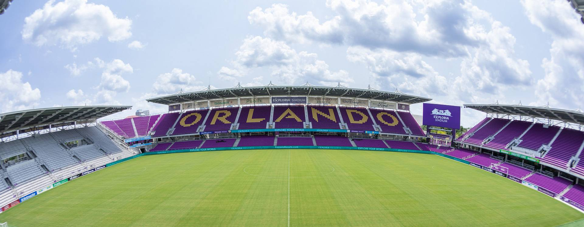 A view of the midfield from the stands inside an empty Exploria Stadium where Orlando City Soccer plays