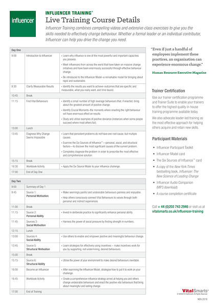 Influencer Course Details