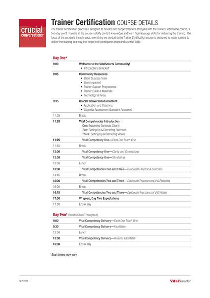 Crucial Conversations Trainer Certification Course Details