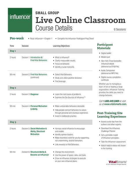 Small Group Live Online Course Details