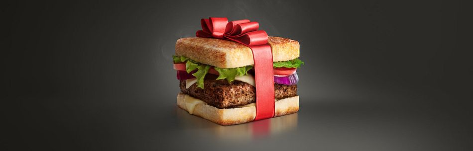 Present wrapped burger