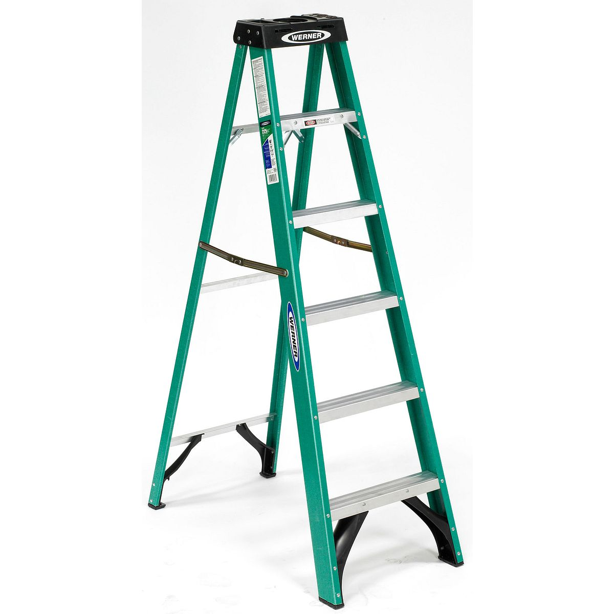 Stepladders werner ladder fs206 6 ft type ii fiberglass single sided step ladder sciox Images