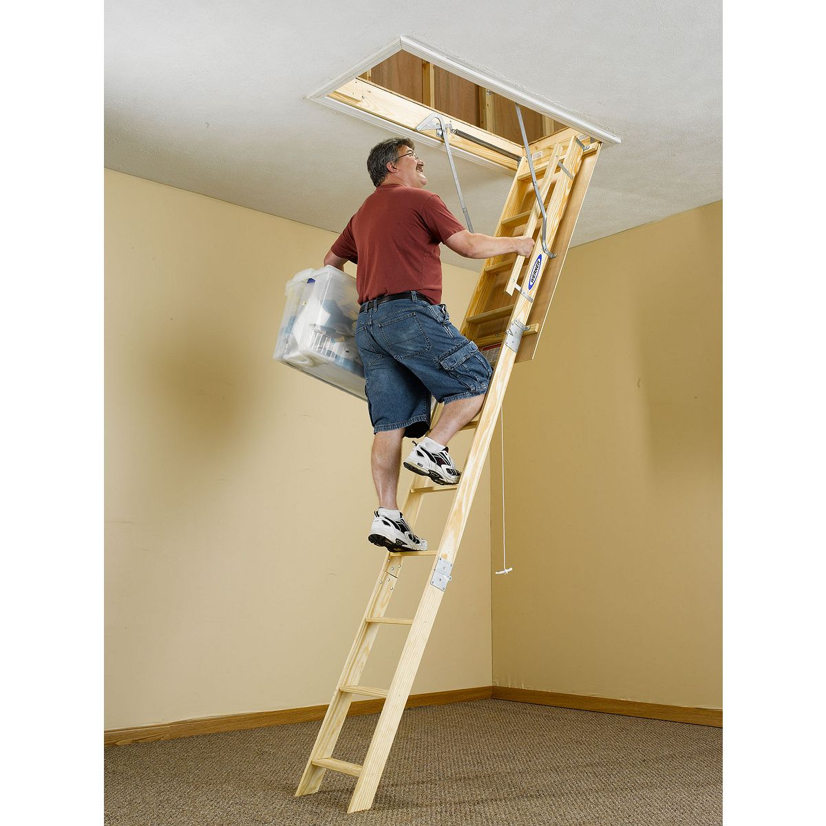W2210 22 5 In W X 54 In L X 10 Ft H Ceiling Wood Attic Ladder