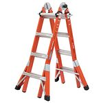 18ft Reach Height Multi-Position Fiberglass Pro Ladder, 300 lb load capacity Type IA FMT-17