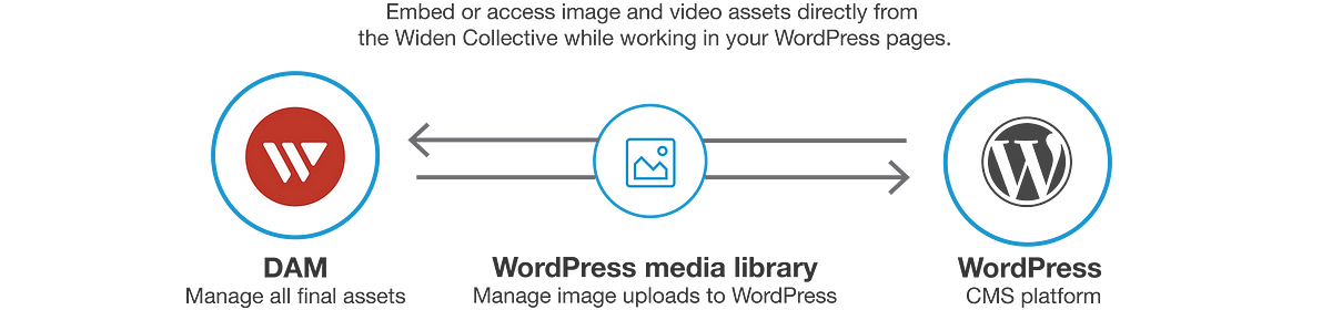 Embed or access image and video assets directly from the Widen Collective while working in your WordPress pages. DAM, Manage all final assets. Wordpress media library, Manage image uploads to WordPress. Wordpress, CMS Platform.