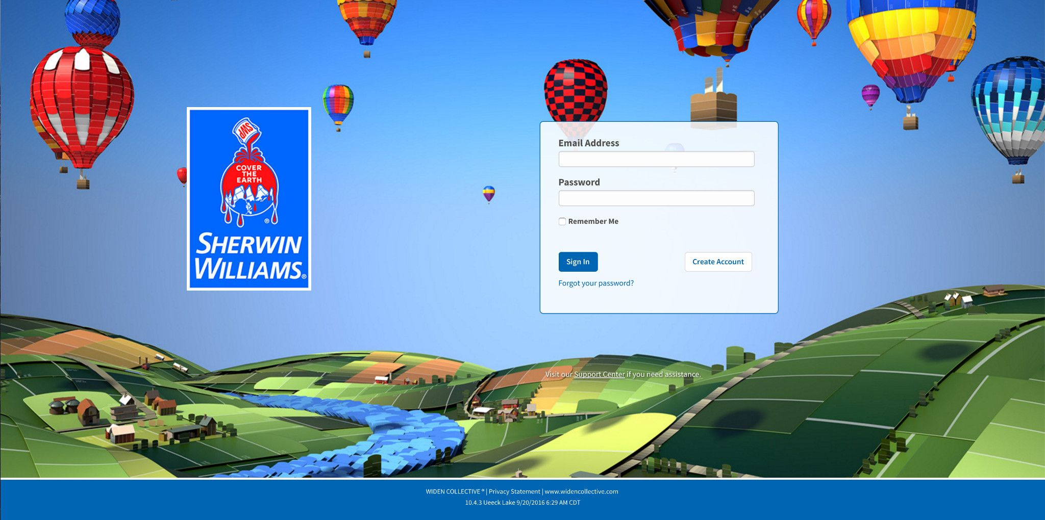 Sherwin Williams login page example