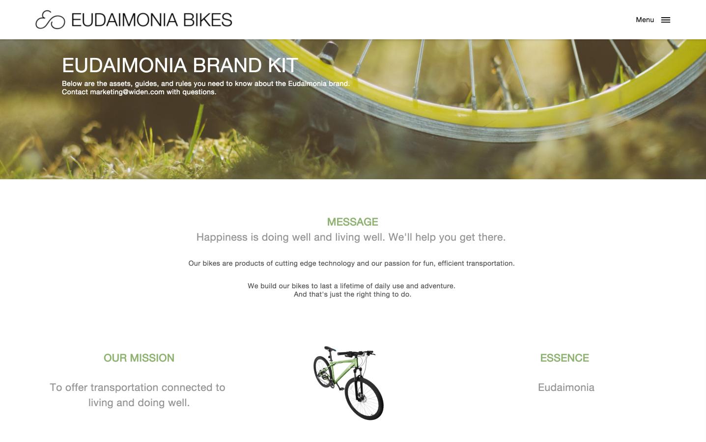 Eudaimonia Bikes Brand Kit Example