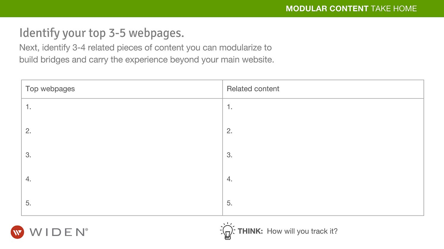 Modular Content Strategy Worksheet