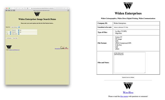 Widen's first web interface for an image database
