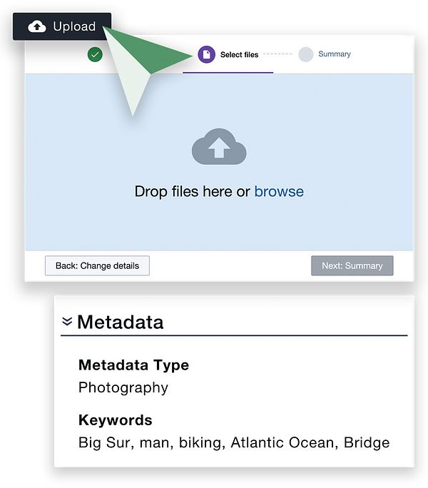 upload and metadata features